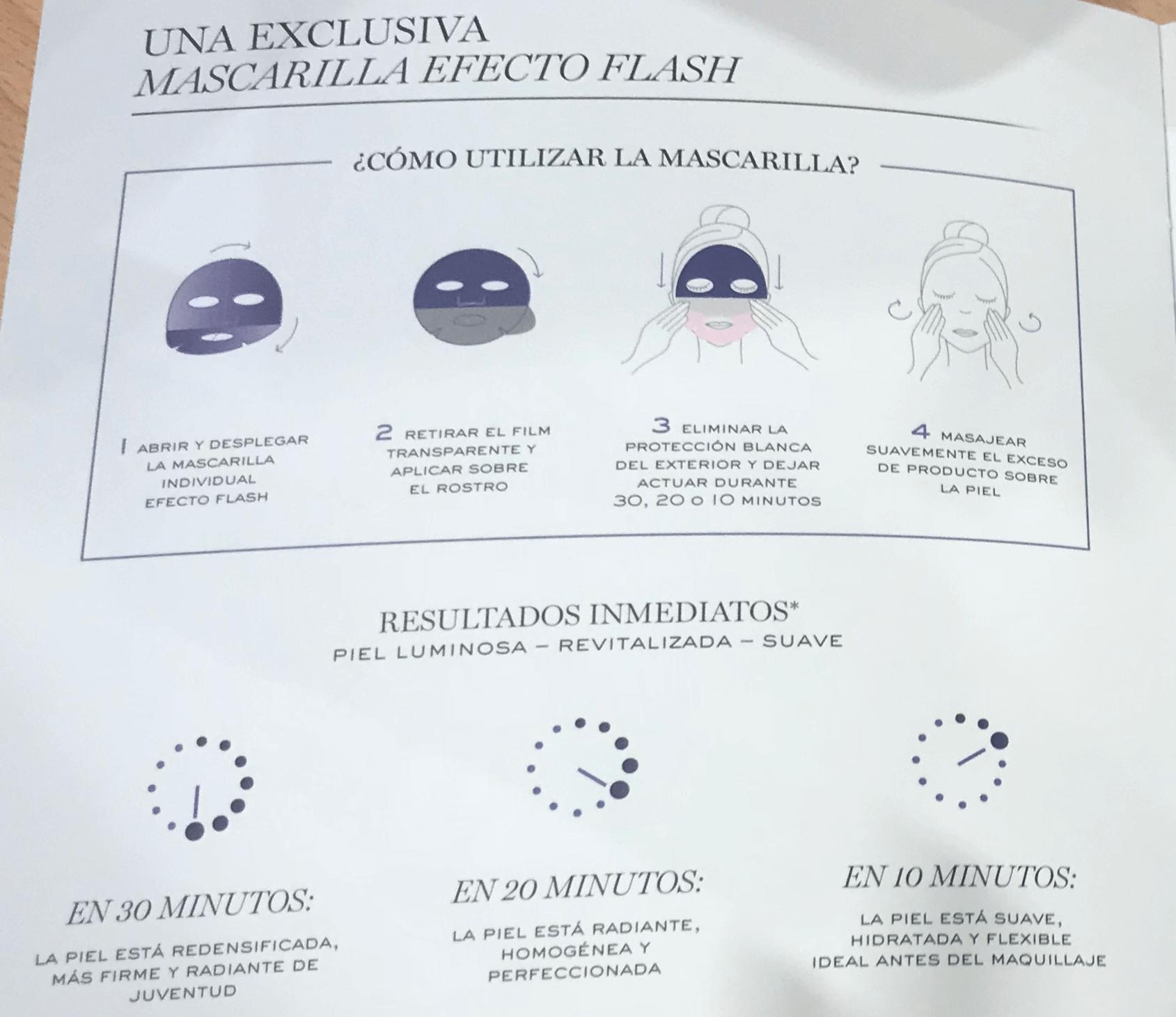 mascarilla hydrogel efecto flash